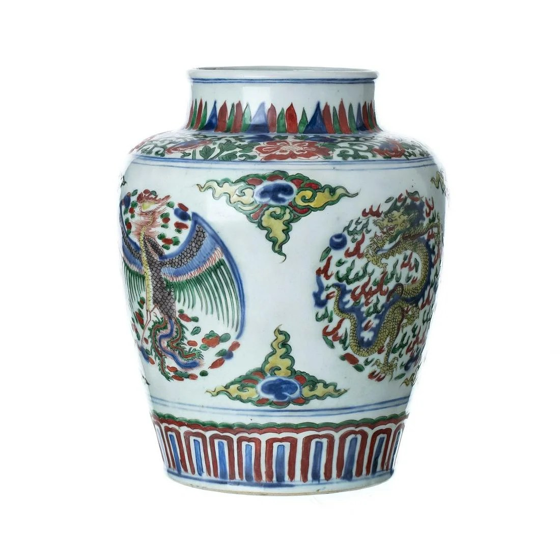 Chinese porcelain Wucai pot, Transitional
