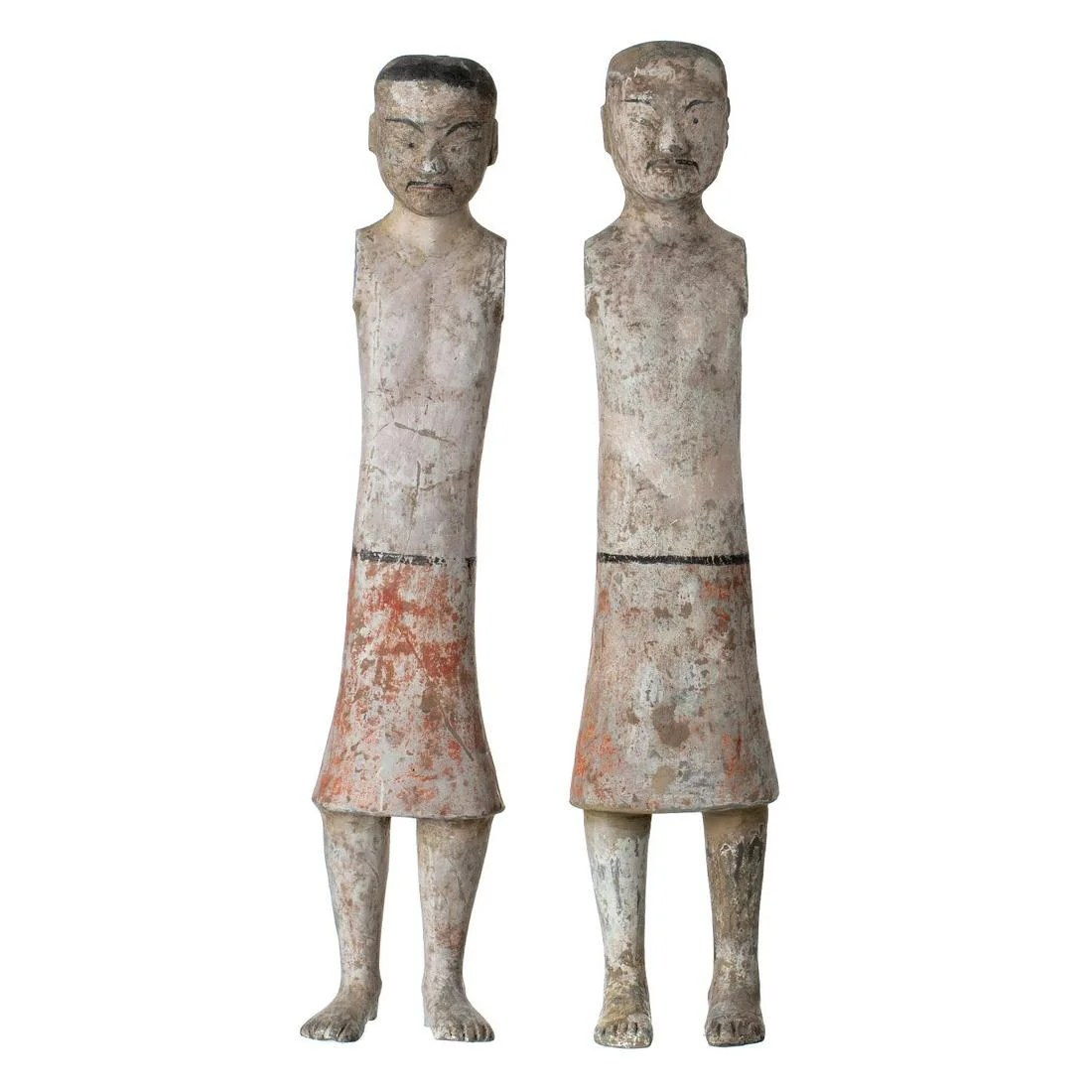 Two chinese terracotta attendant figures, Ming