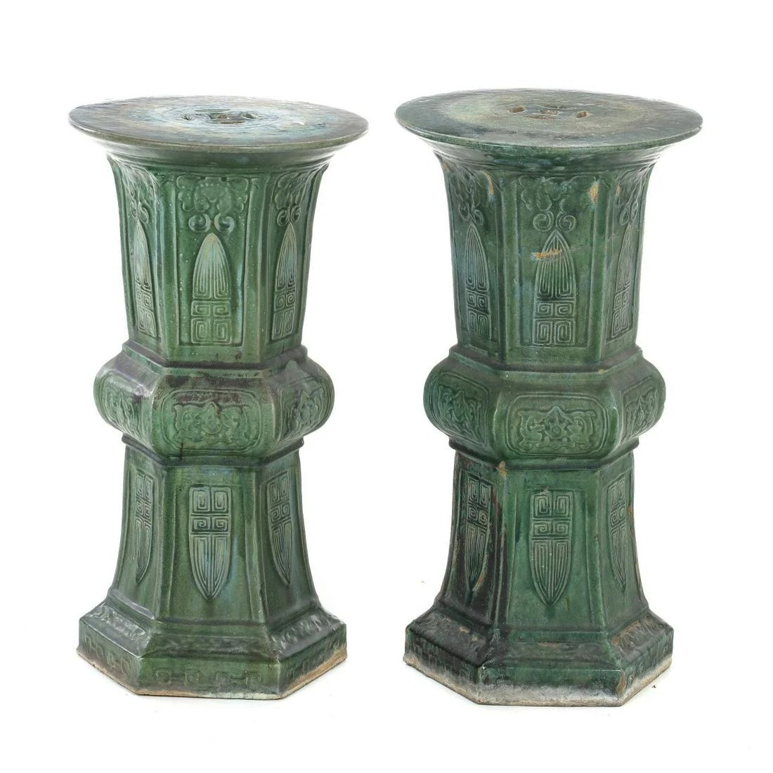 Pair of Chinese celadon ceramic Stools, Plant Stand