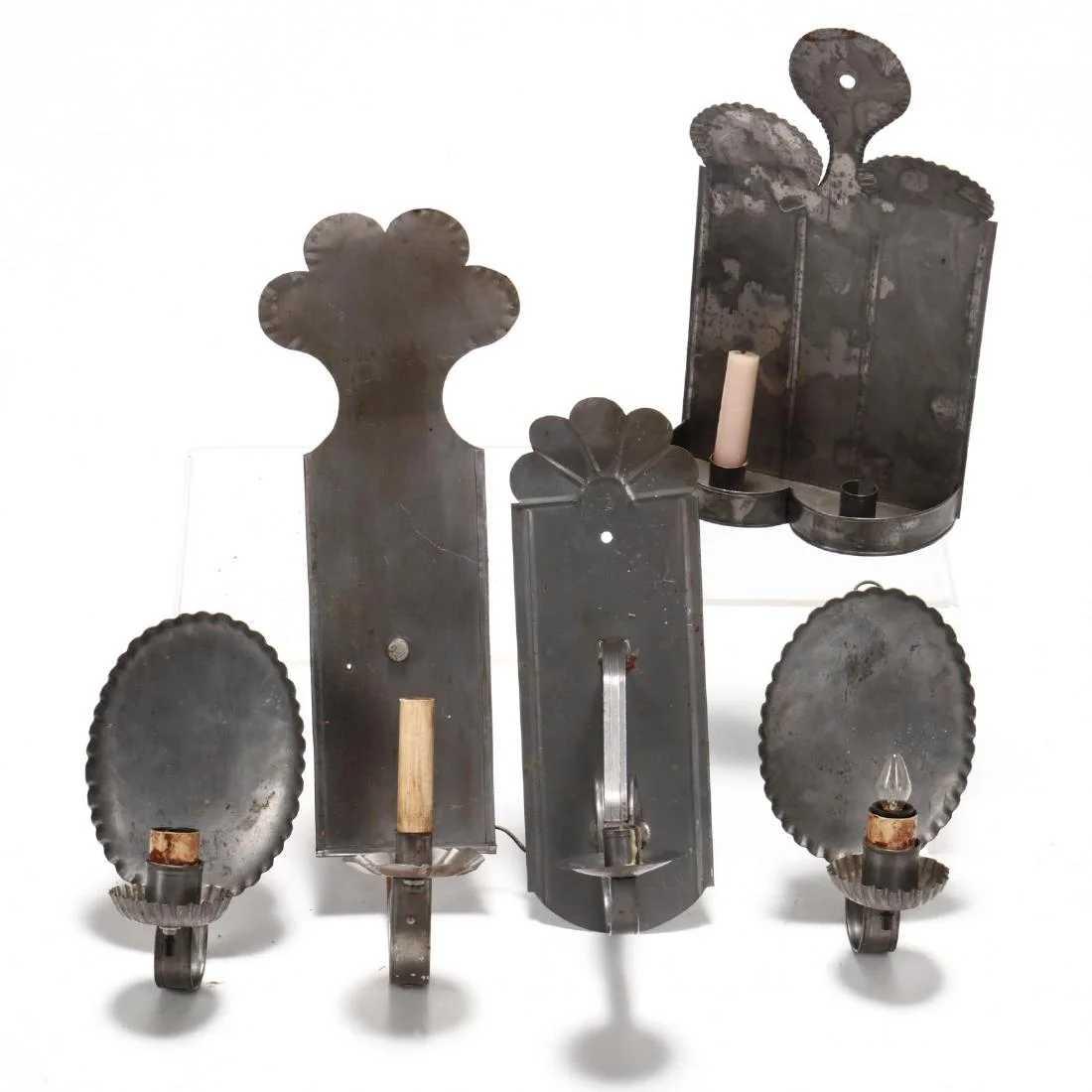 Five Antique Style Tin Candle Sconces on Antique Style Candle Holder Sconces id=25363