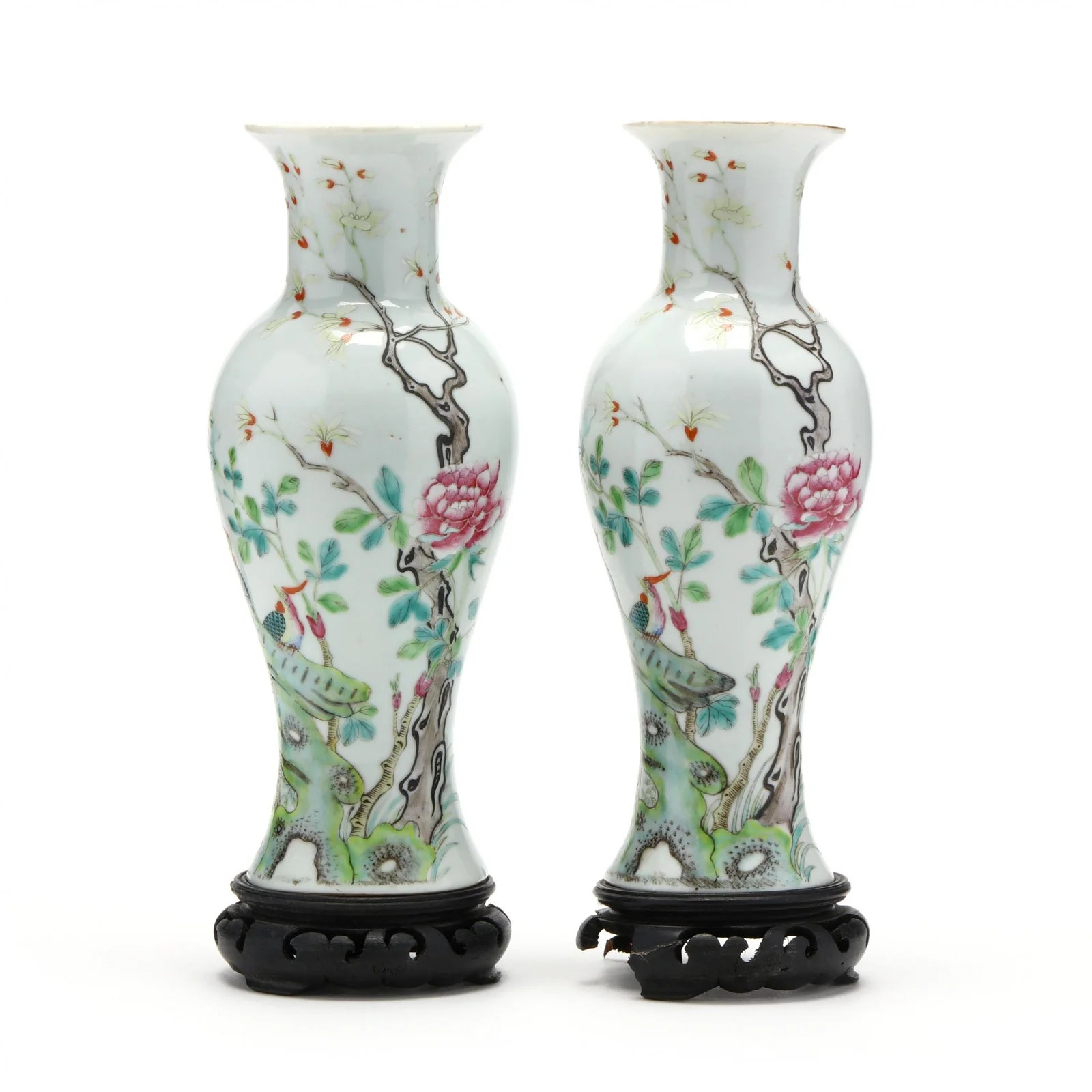 A Matched Pair of Chinese Porcelain Mantel Vases