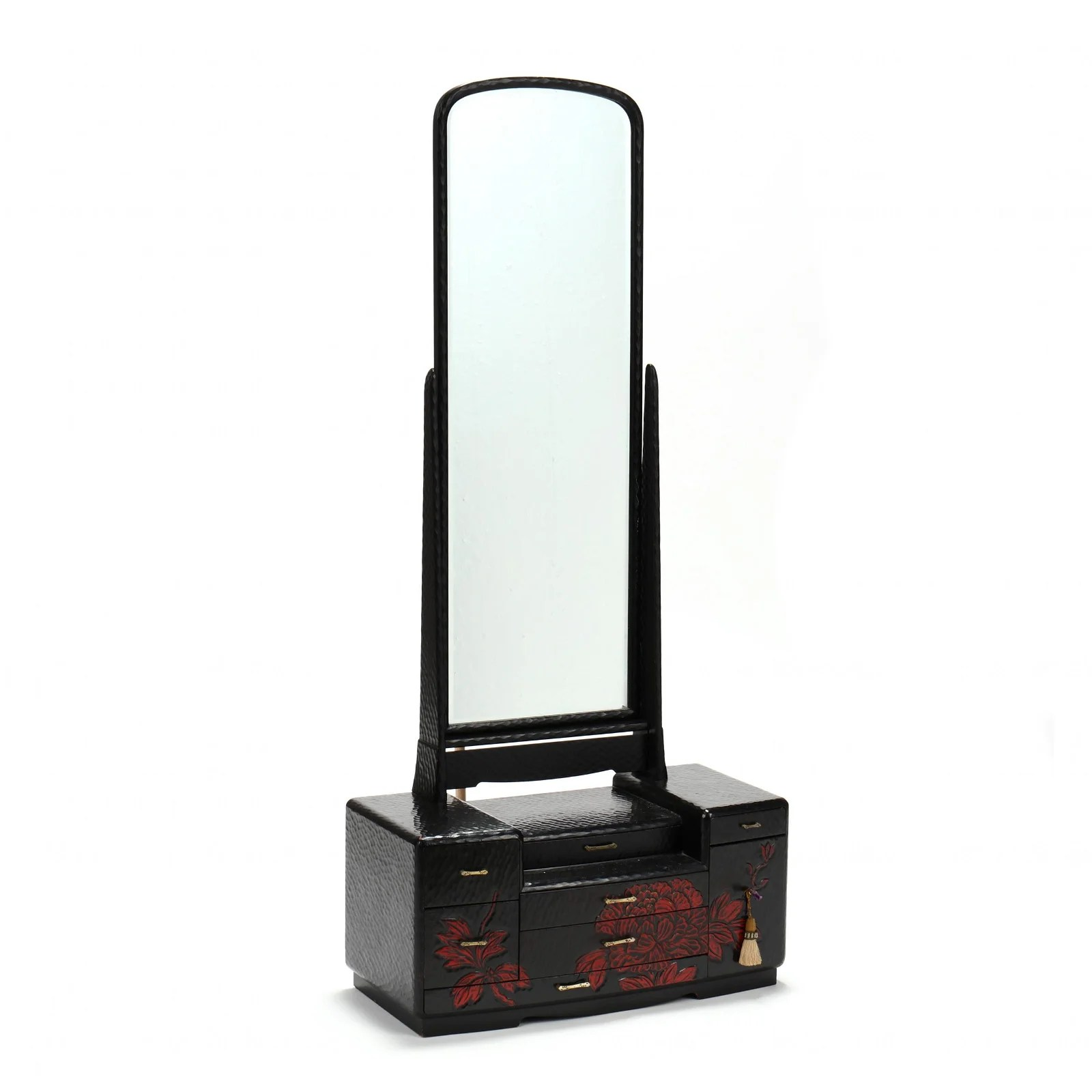 Vintage Japanese Lacquered Vanity with Mirror