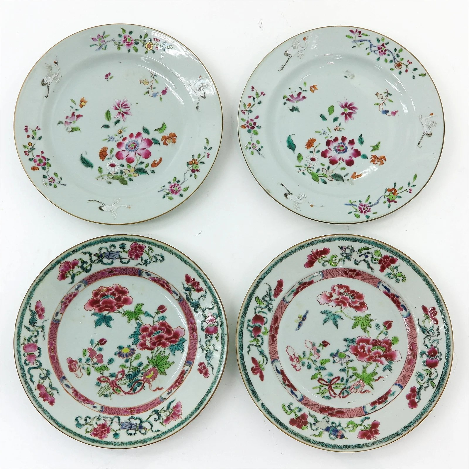 A Series of Four Famille Rose Plates
