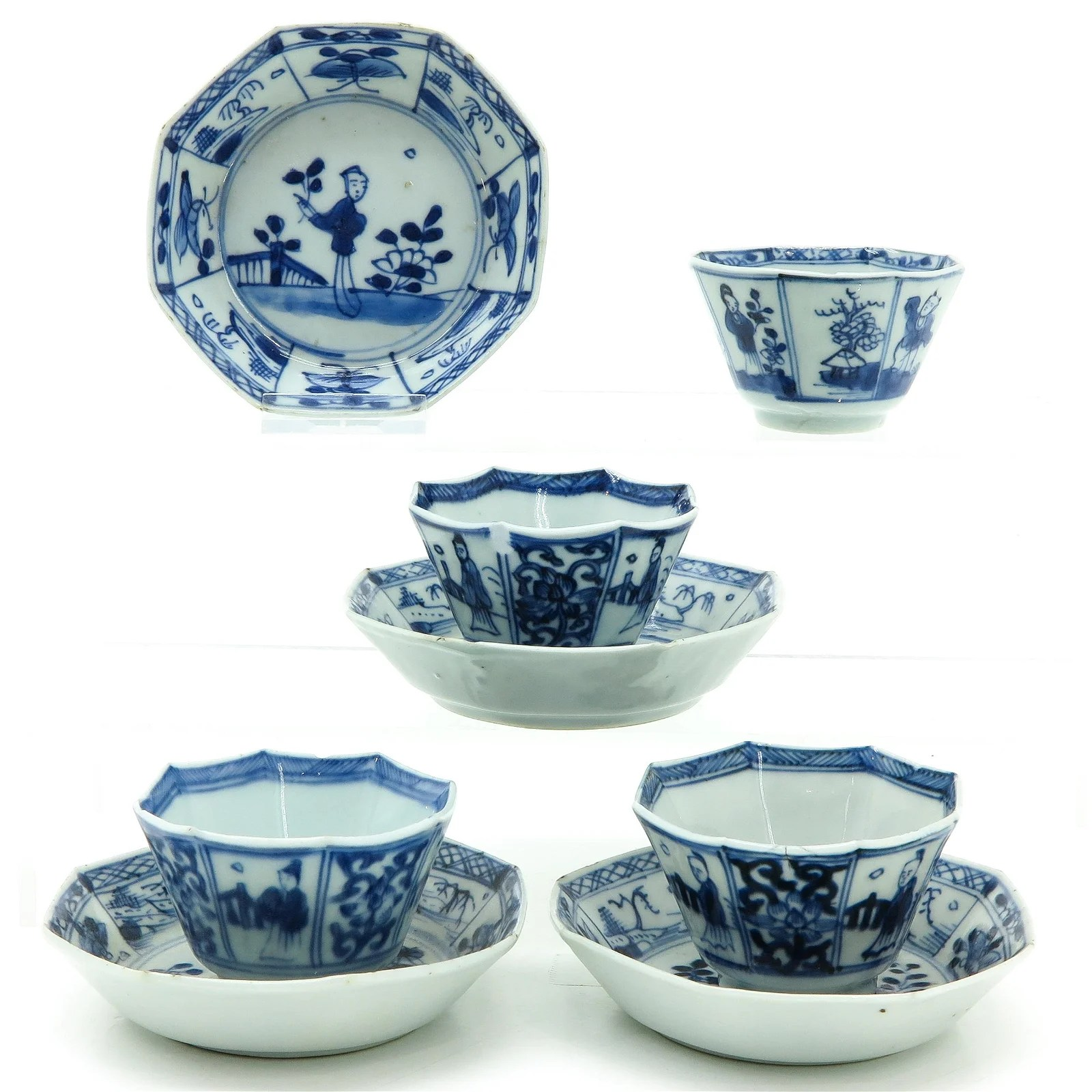 Four Chinese Cups and Saucers