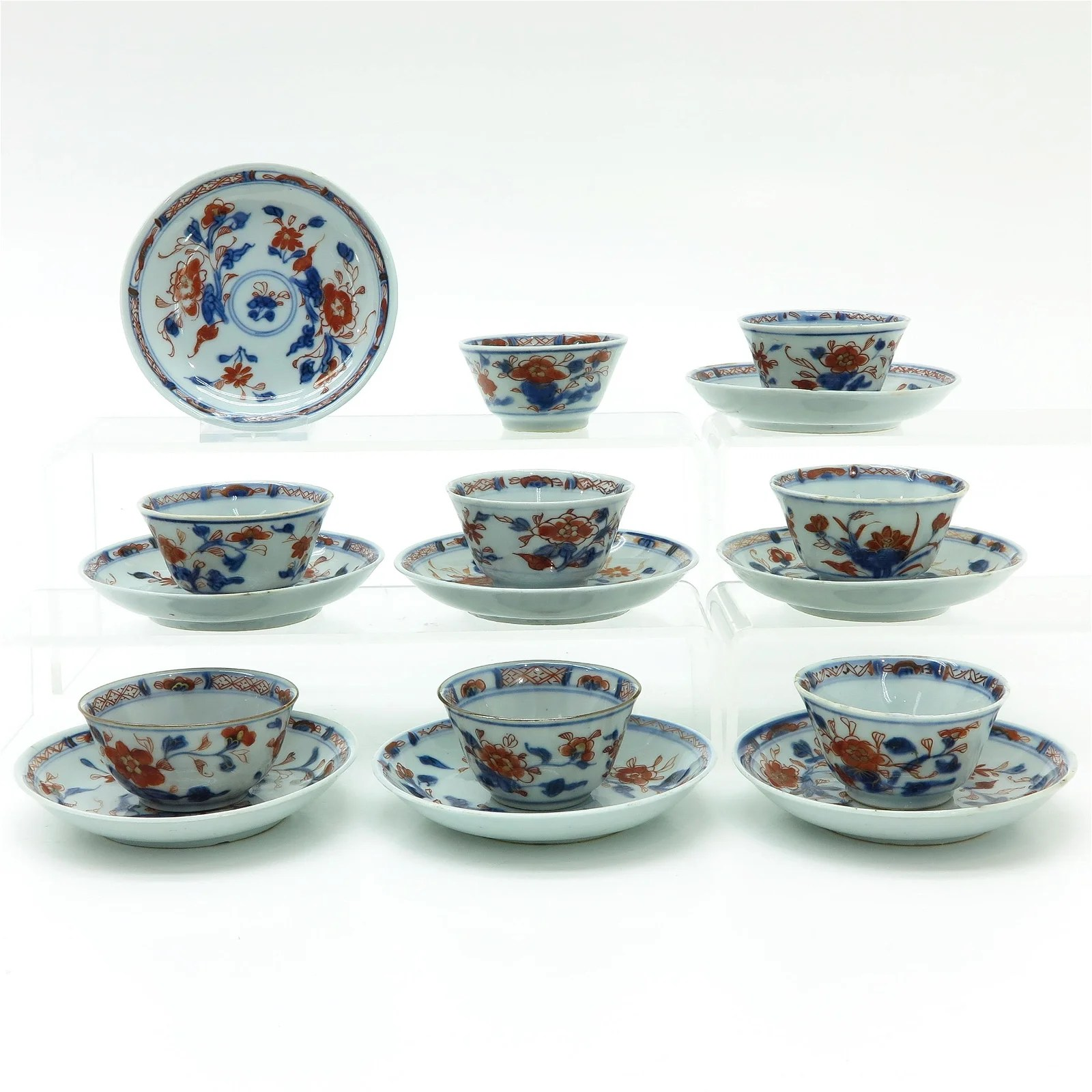 Eight Chinese Imari Cups and Saucers