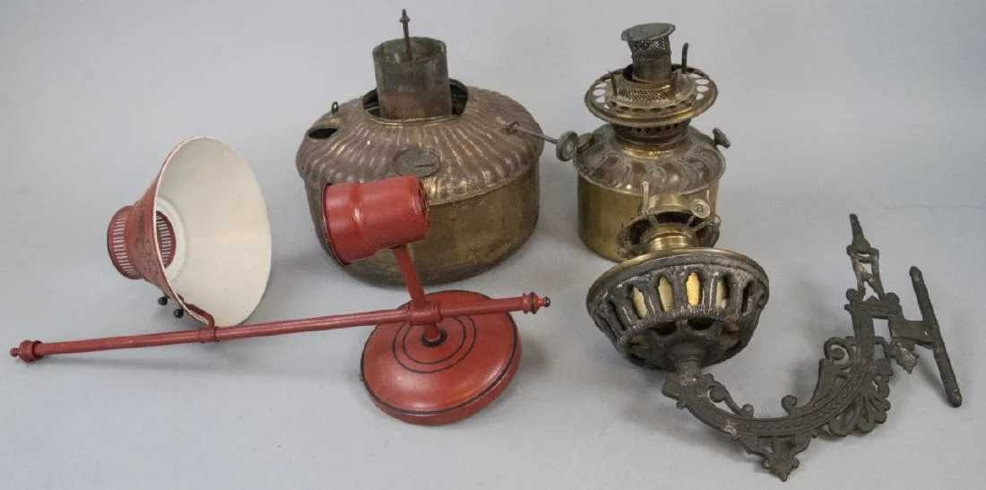 Assorted Brass Kerosene Lamp Parts & Wall Sconces on Wall Sconce Parts id=52461