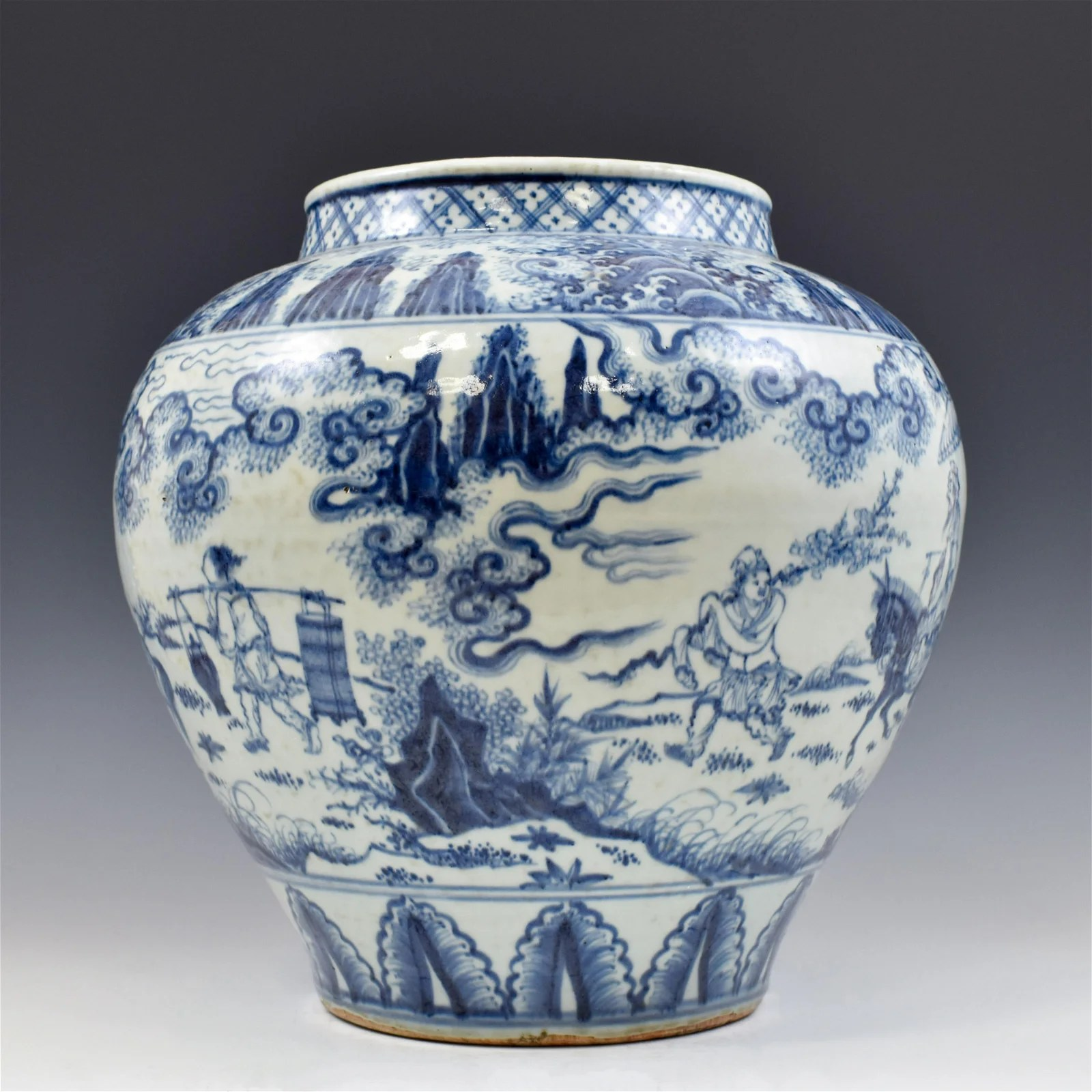 MING BLUE AND WHITE JAR