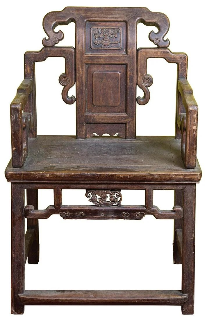 CHINESE CARVED ARMCHAIRDecorative panels, missing back
