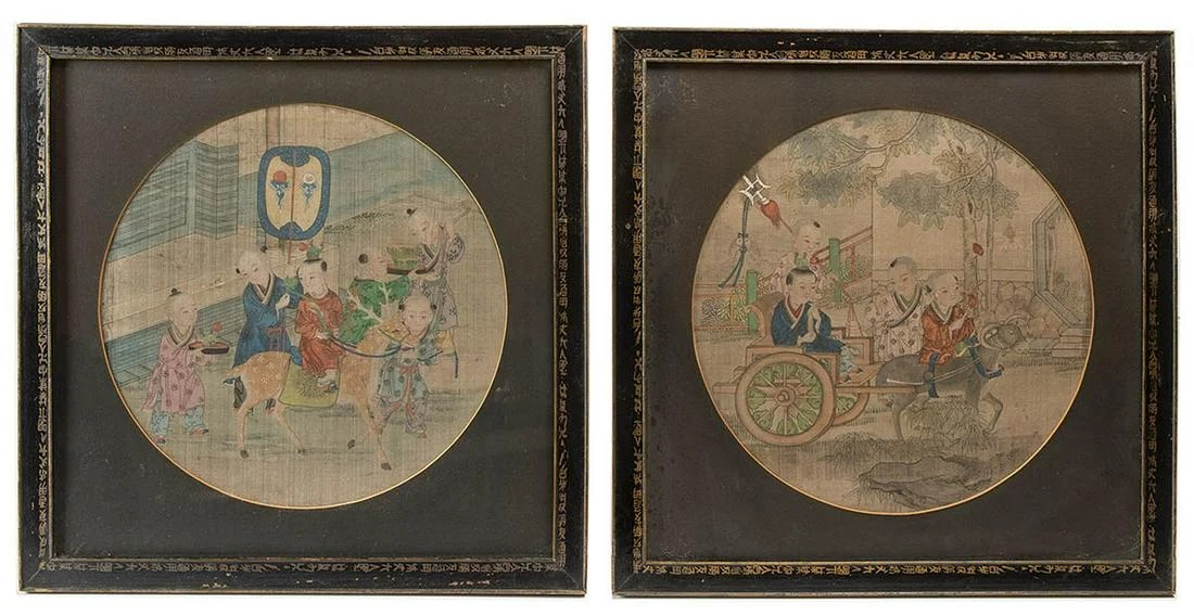 TWO CHINESE FRAMED PICTURESCircular pictures, painted