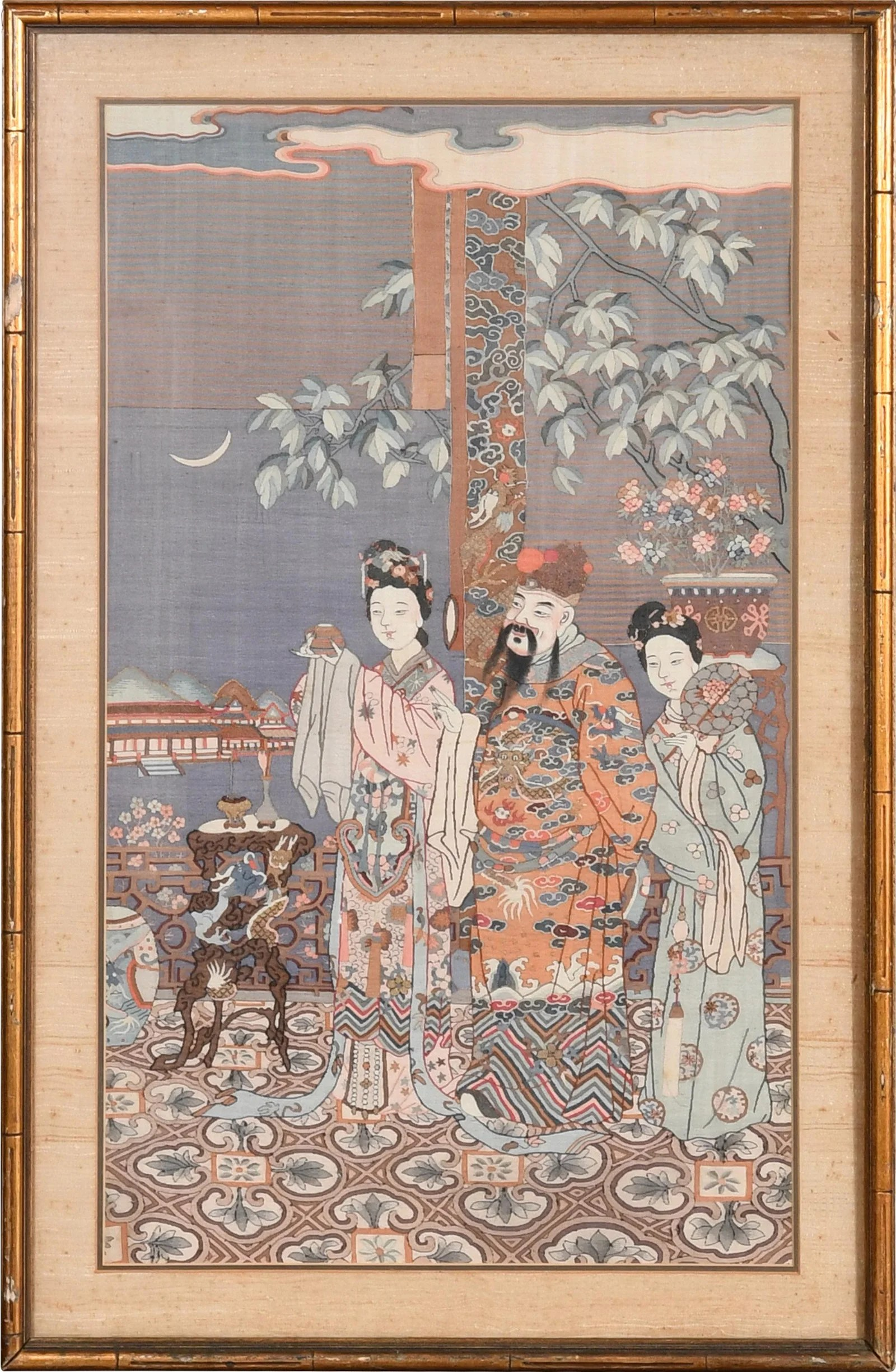 Chinese Kesi Panel of 3 Figures, Late 19th Century