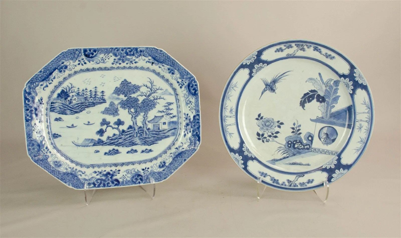 (2) B/W Chinese Export Porcelain Platters