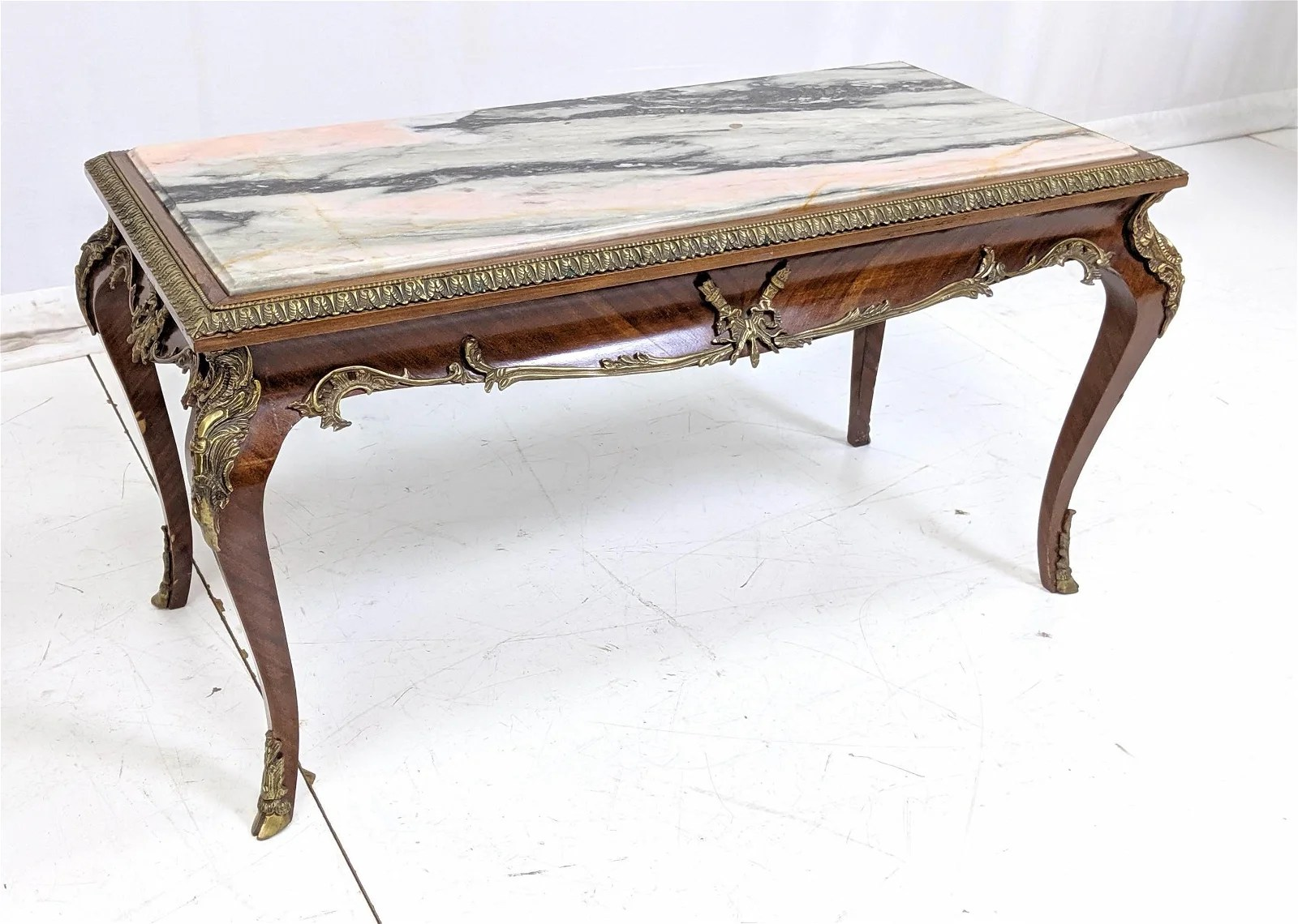 Antique Marble Top Coffee Table With Brass Mounts Sep 10 2019 Uniques Antiques Inc In Pa