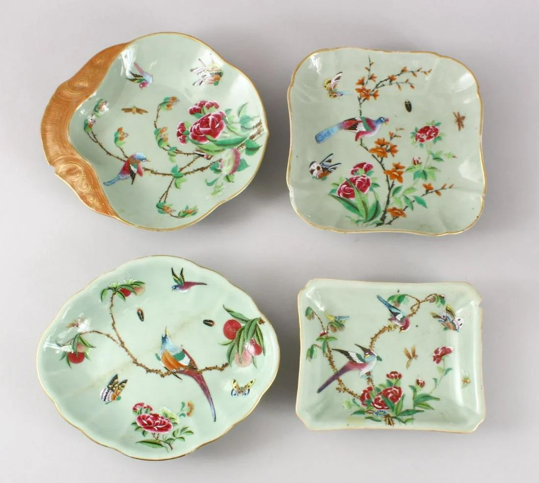 FOUR 19TH CENTURY CHINESE CELADON PORCELAIN DISHES,