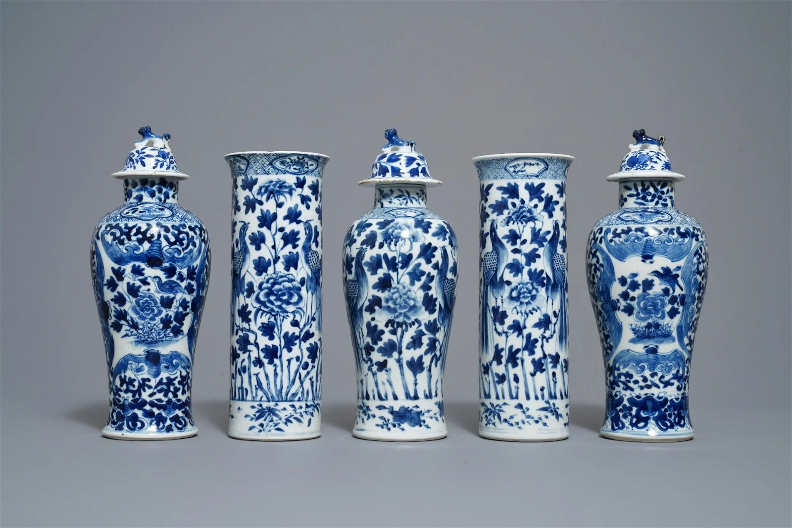 A Chinese blue and white five-piece garniture with