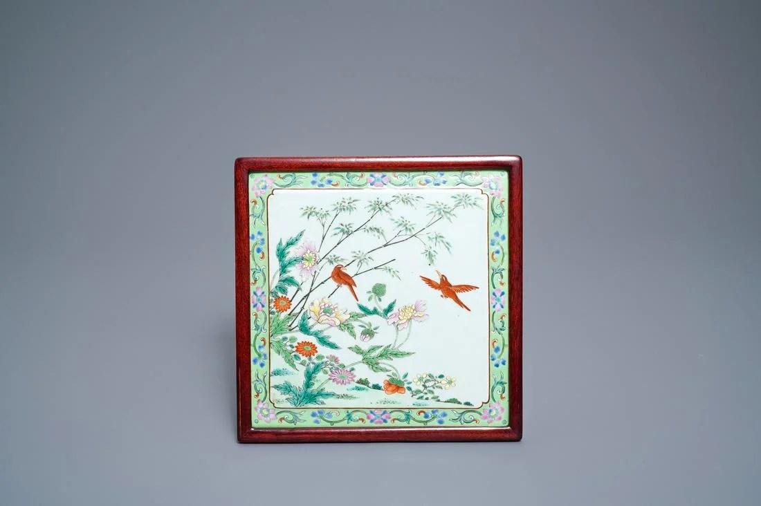 A square Chinese famille rose plaque, Qianlong/Jiaqing