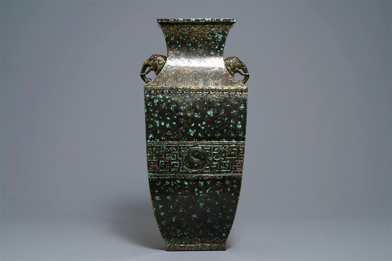 A Chinese faux-bronze-glazed vase, Qianlong mark,