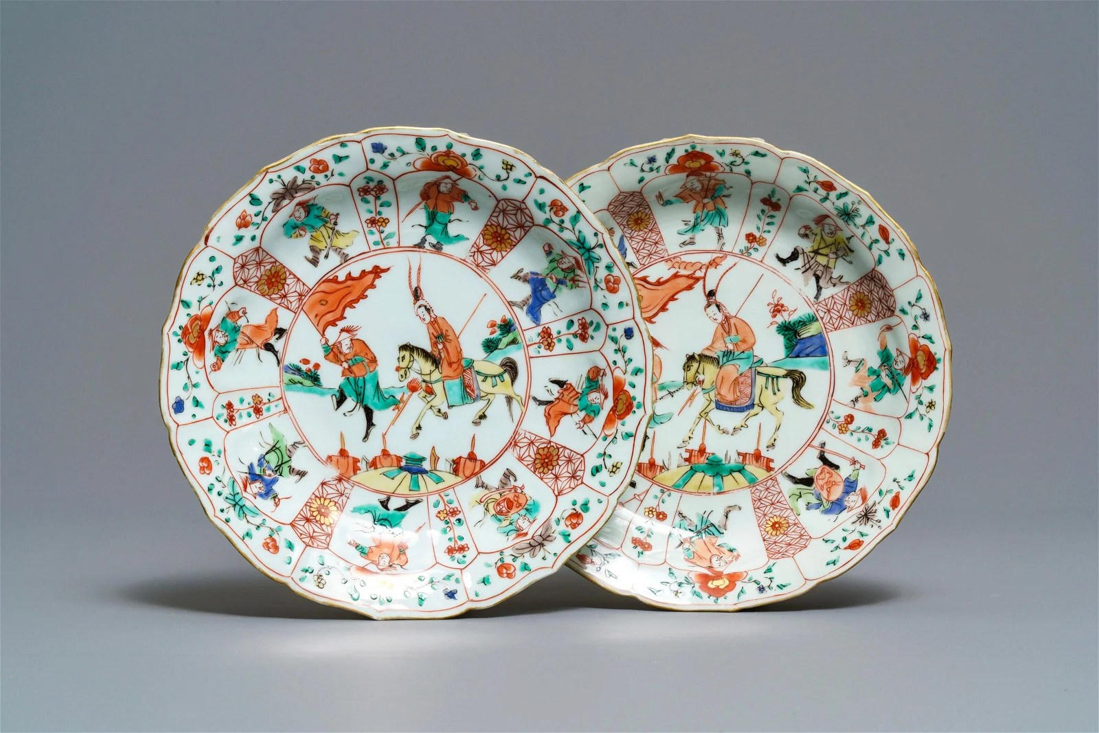 A pair of Chinese famille verte lotus-moulded 'Mu