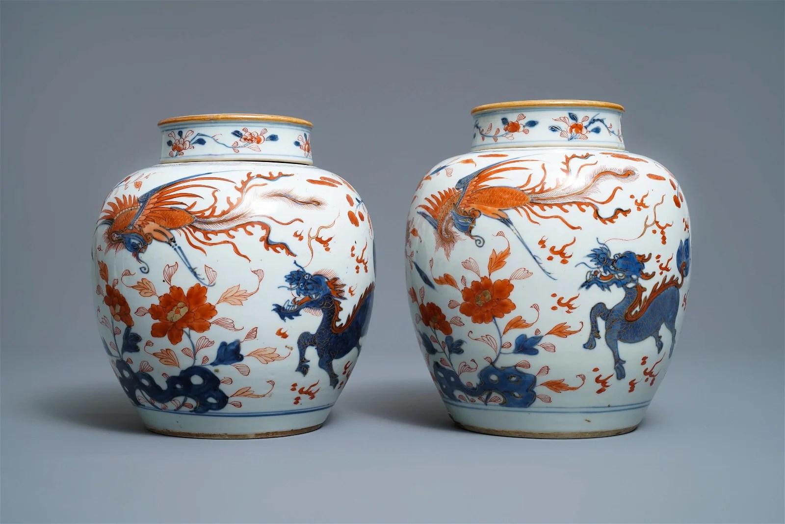 A pair of Chinese Imari-style 'qilin and phoenix' jars
