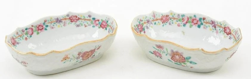 Pair of Chinese Export Famille Rose Dishes