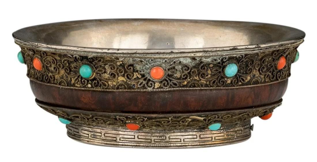 A Sino-Tibetan silver and wooden tsampa bowl, inlaid