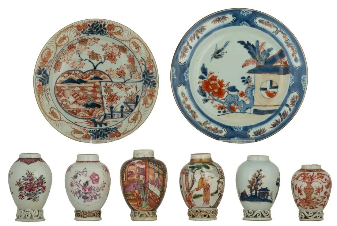 Six Chinese polychrome, iron red and famille rose tea