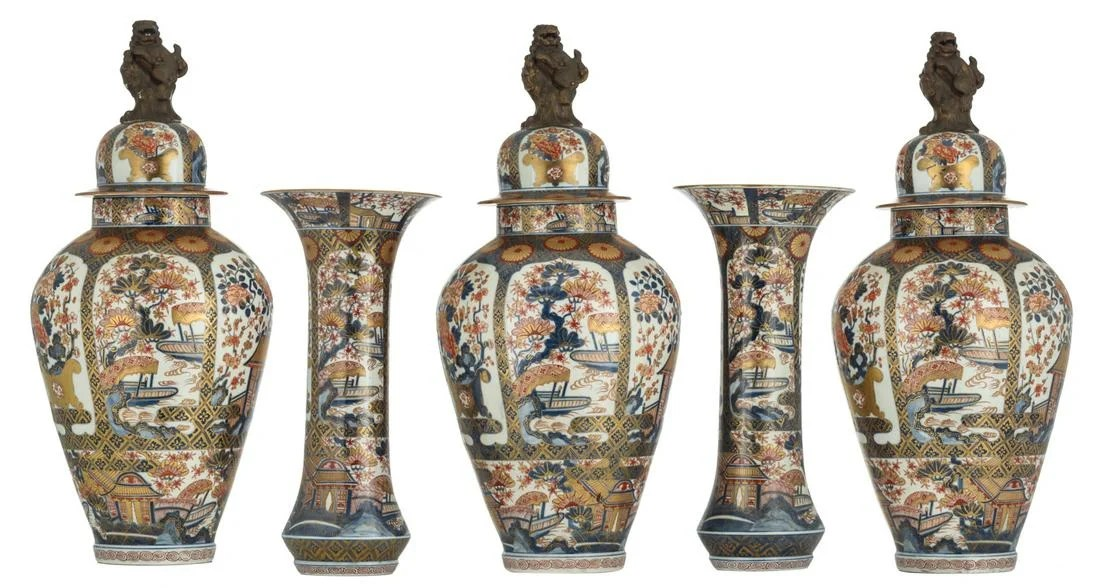 A Japanese Imari and gilt decorated five-piece