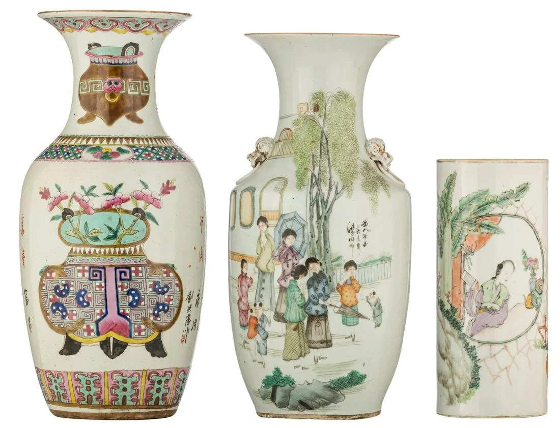 Two Chinese famille rose vases, decorated with flower