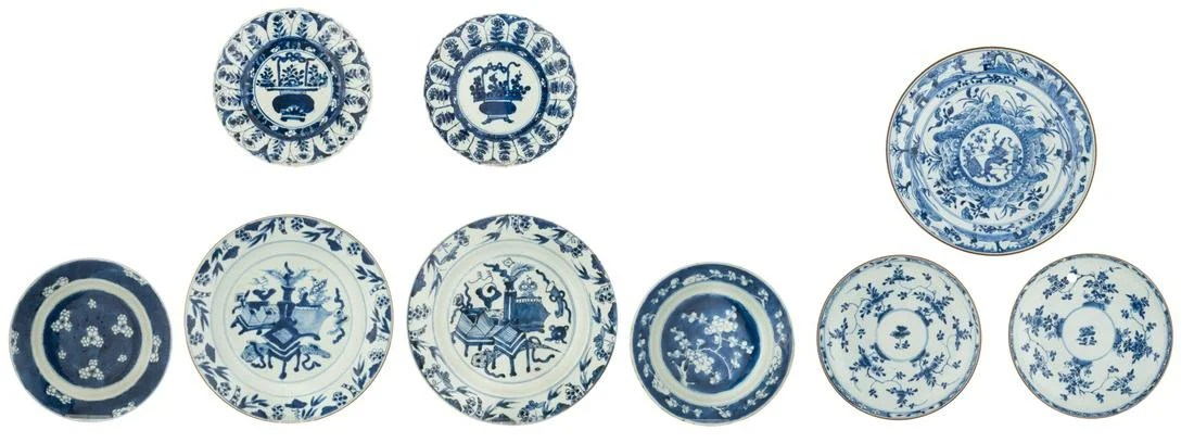 Nine Chinese blue and white dishes, decorated with