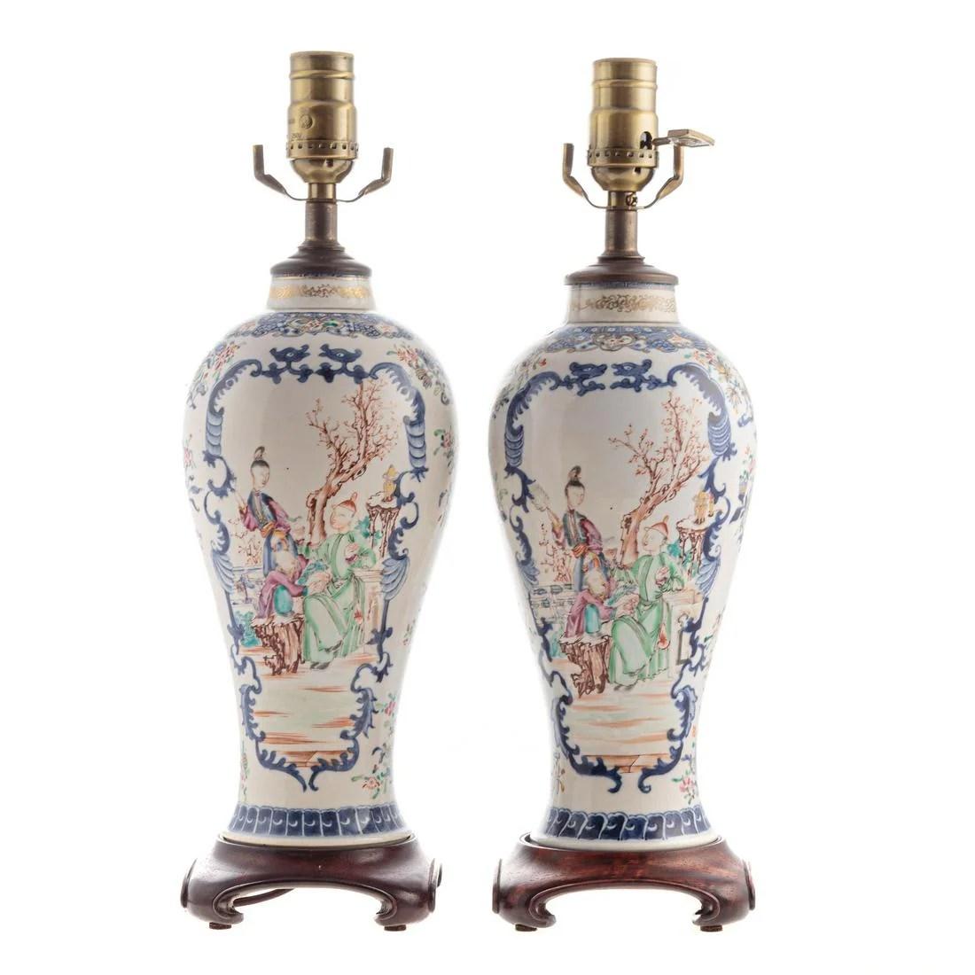Pair Chinese Export Mandarin Garniture Lamps
