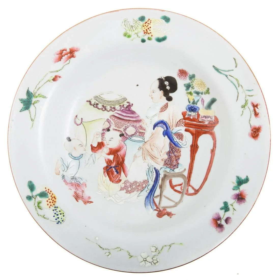 Chinese Export Famille Rose Plate with Ruby Glaze