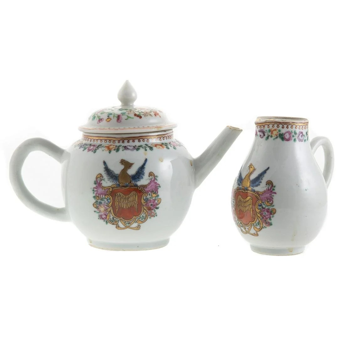 Chinese Export Armorial Teapot & Creamer
