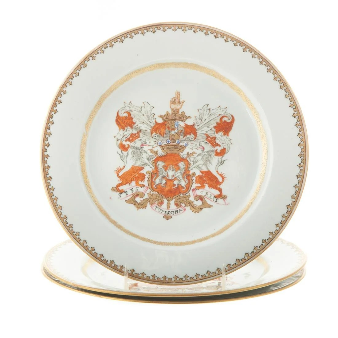 Three Chinese Export Armorial Plates