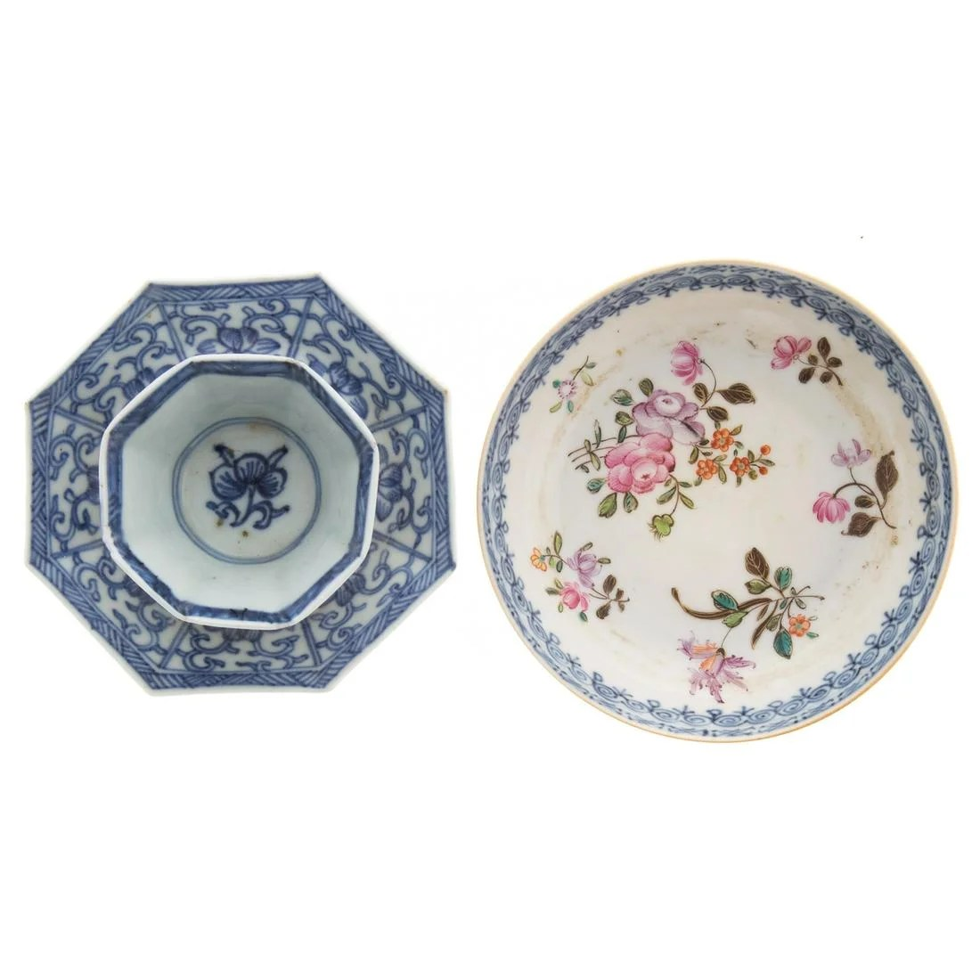 Chinese Export Blue/White Cup & Saucer