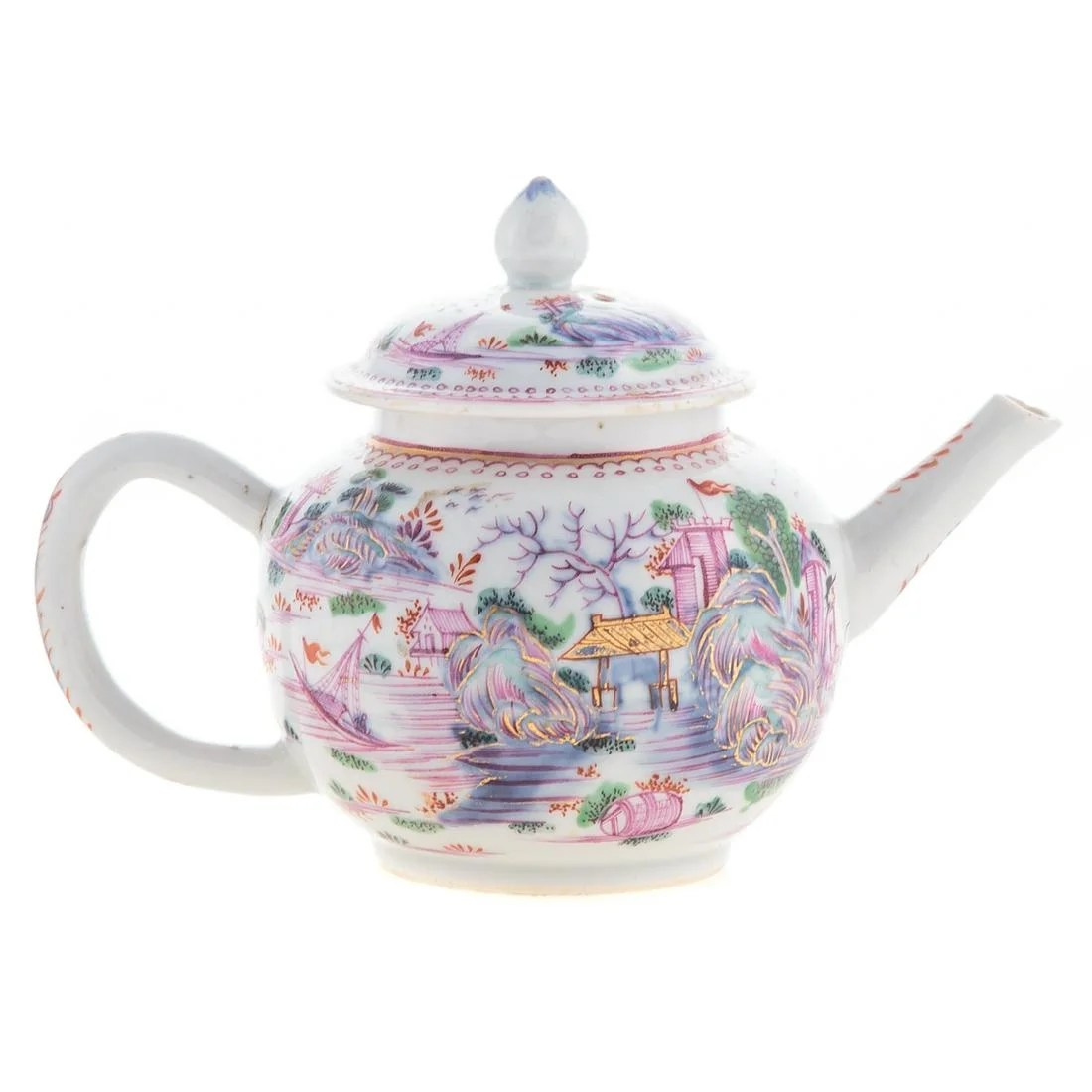 Chinese Export Globular Teapot in Meissen Manner