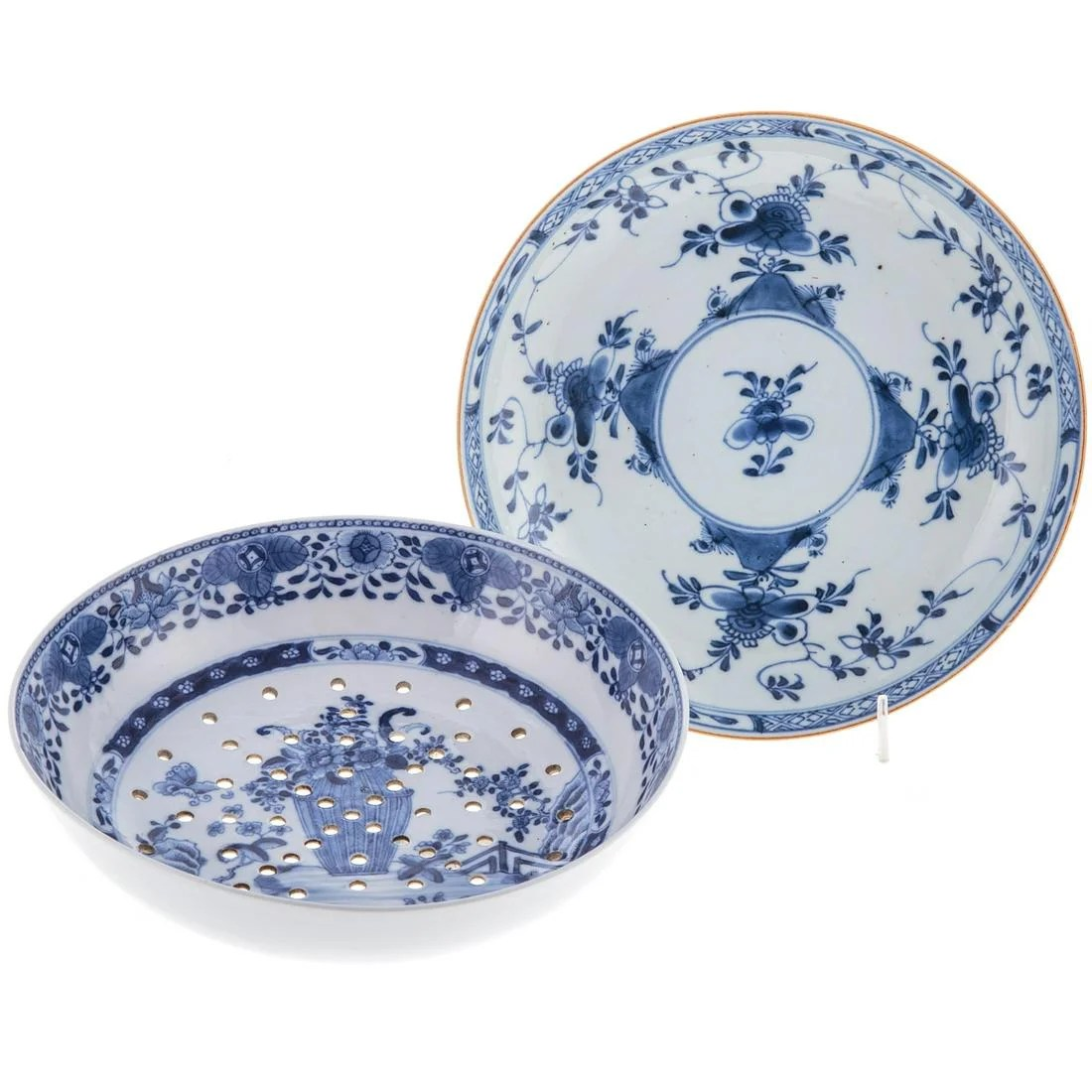 Chinese Export Berry Strainer & Plate
