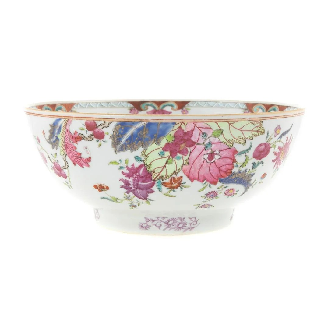 Chinese Export Tobacco Leaf Footed Bowl