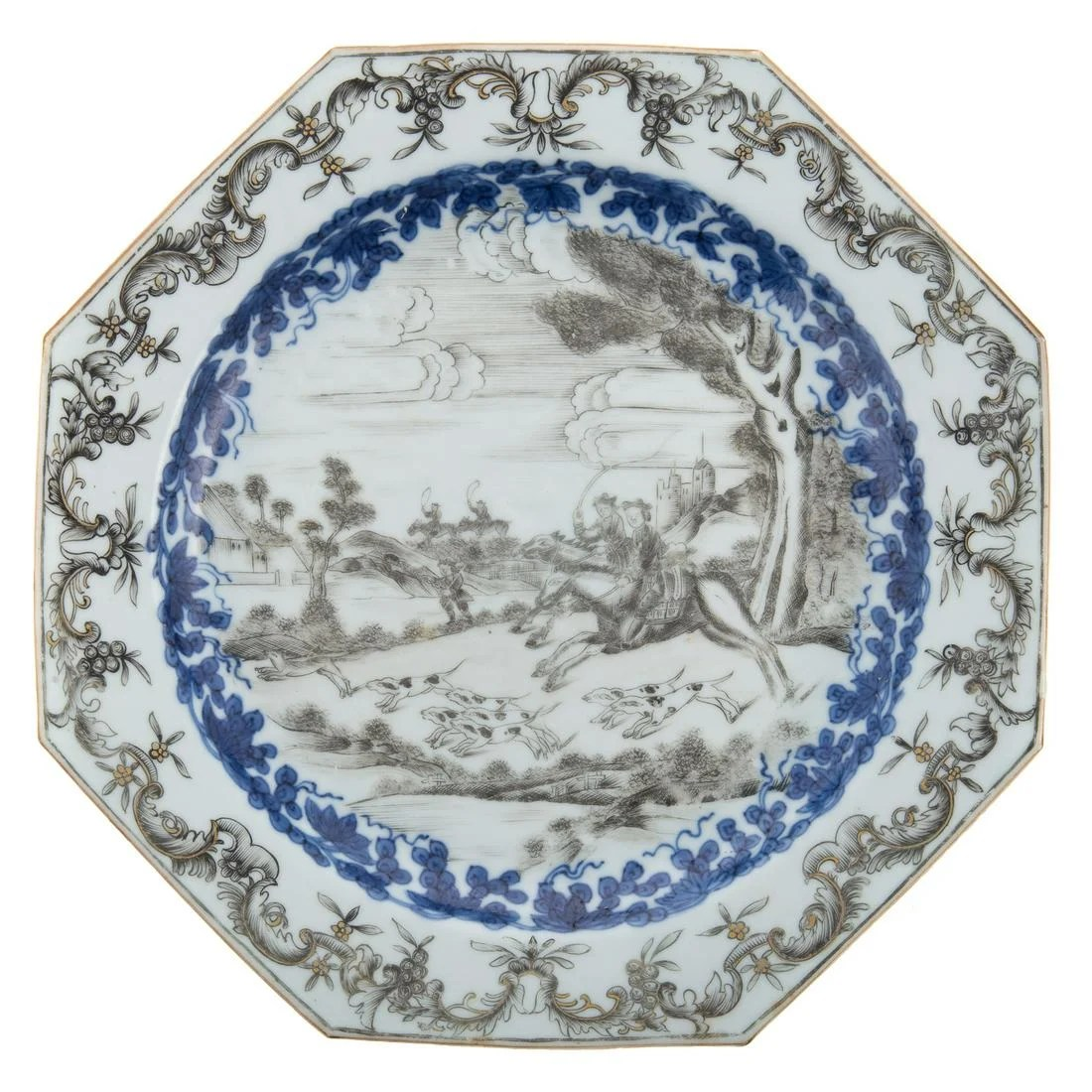 Rare Chinese Export En Grisaille Hunt Plate