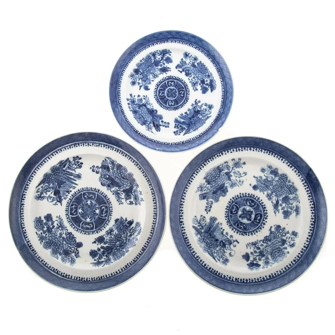 Three Chinese Export Blue Fitzhugh Plates