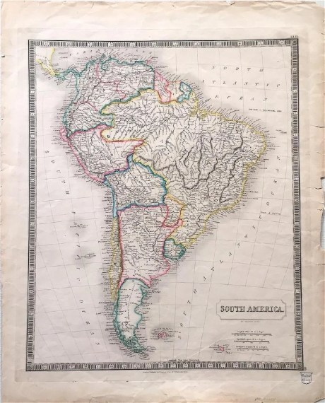 Sidney Hall  Antique Map of South America  1820