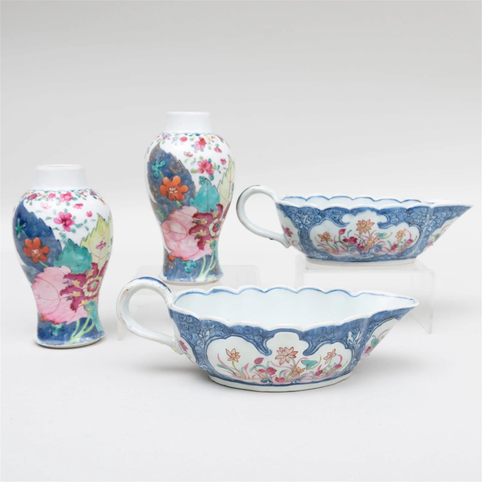 Pair of Chinese Export Porcelain Blue Ground Sauce