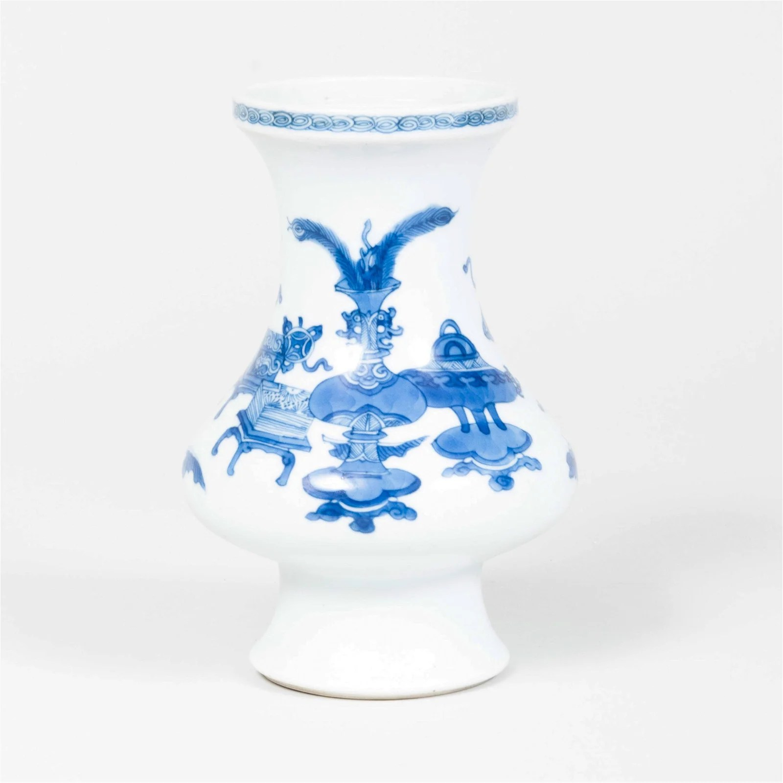 Chinese Blue and White Porcelain Vase Decorated with
