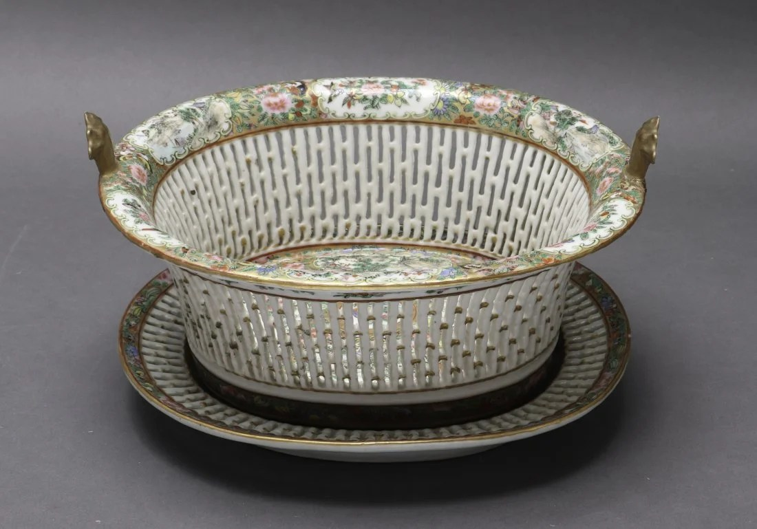 Chinese Rose Medallion Basket w Underplate, 2