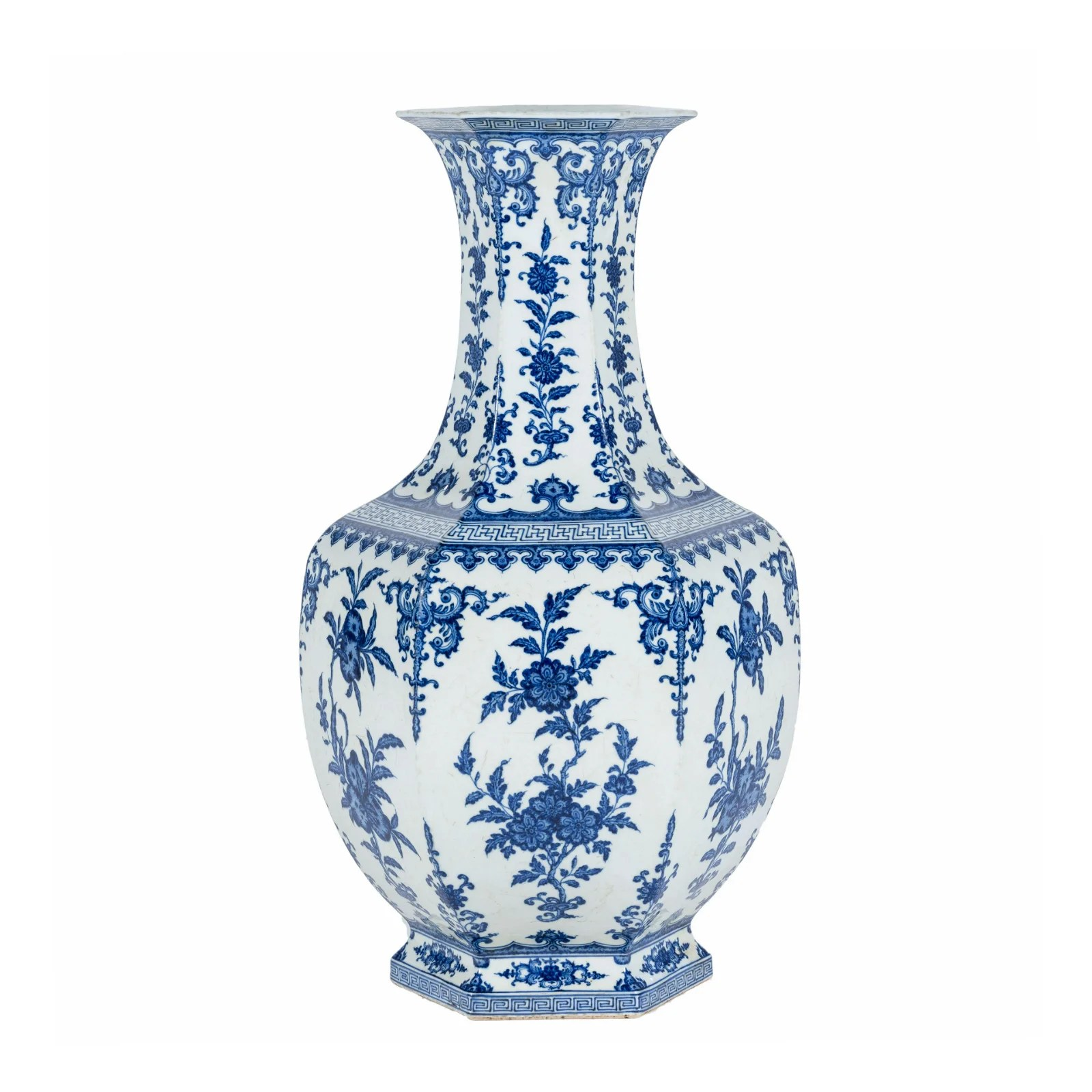 QIANLONG BLUE &WHITE HEXAGONAL VASE