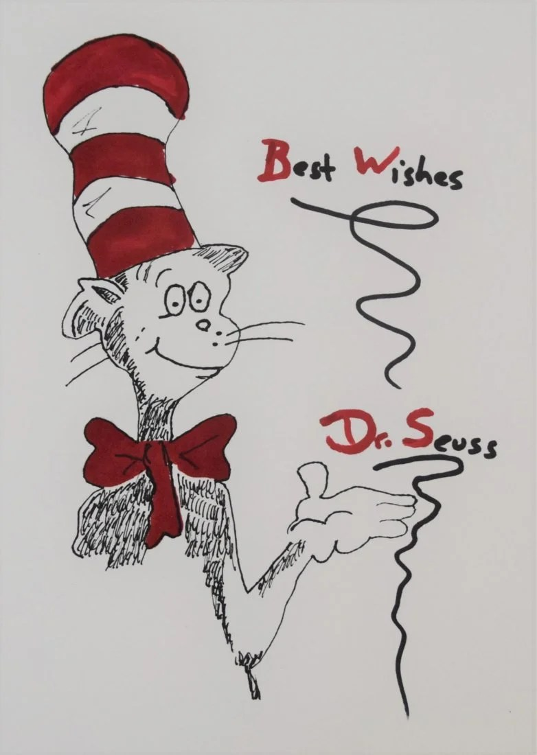 Dr Seuss The Cat In The Hat Drawing Oct 22 2019 Black River Auction In Nj