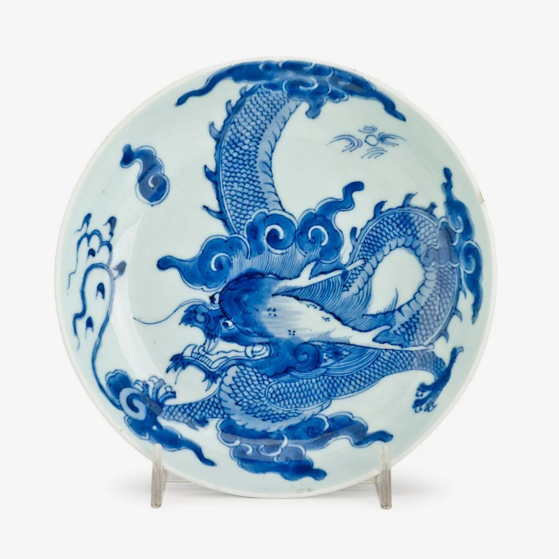 A small Chinese blue and white porcelain dragon plate,
