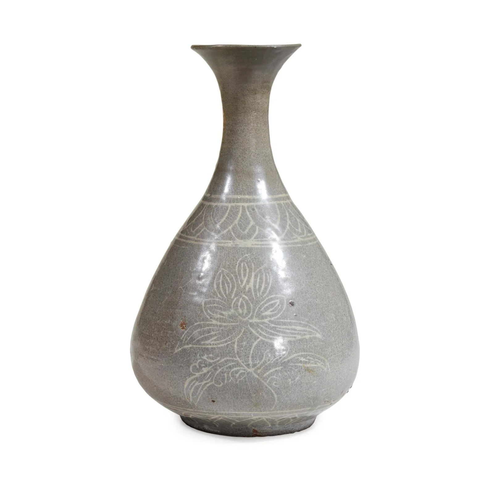 A Korean inlaid celadon pear-shaped vase, Early Goryeo