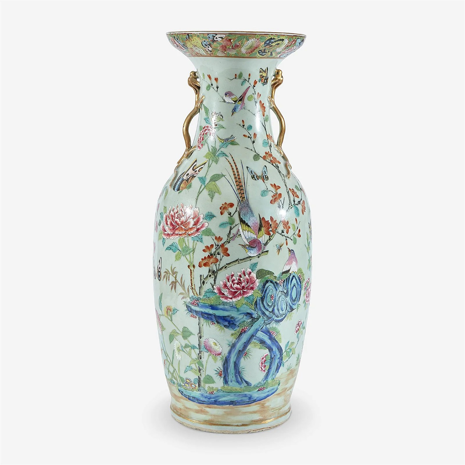 A large Chinese export famile rose-decorated porcelain