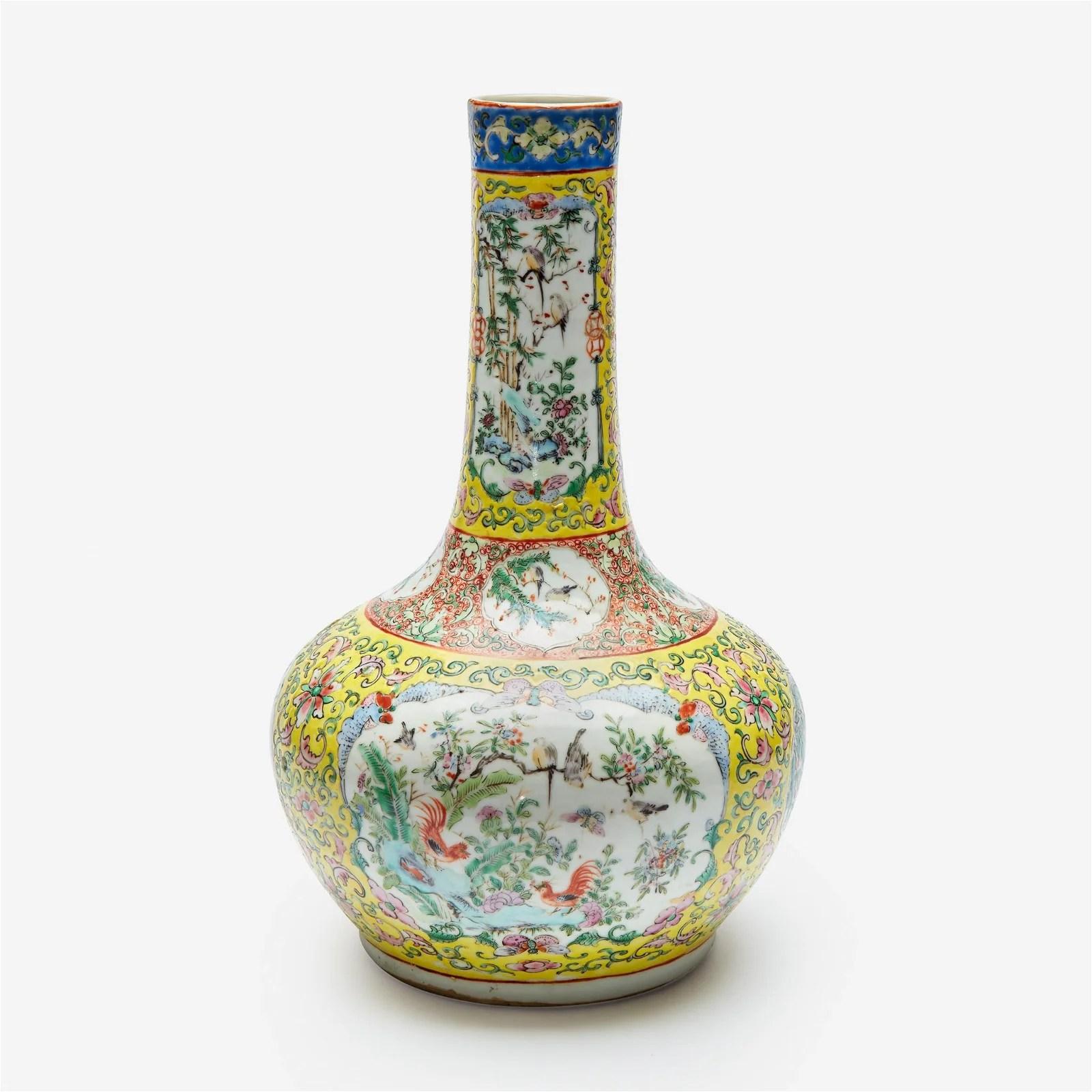 A Chinese enameled porcelain yellow-ground bottle vase,