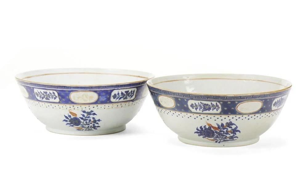 Duas taças poncheira em porcelana chinesa da CI