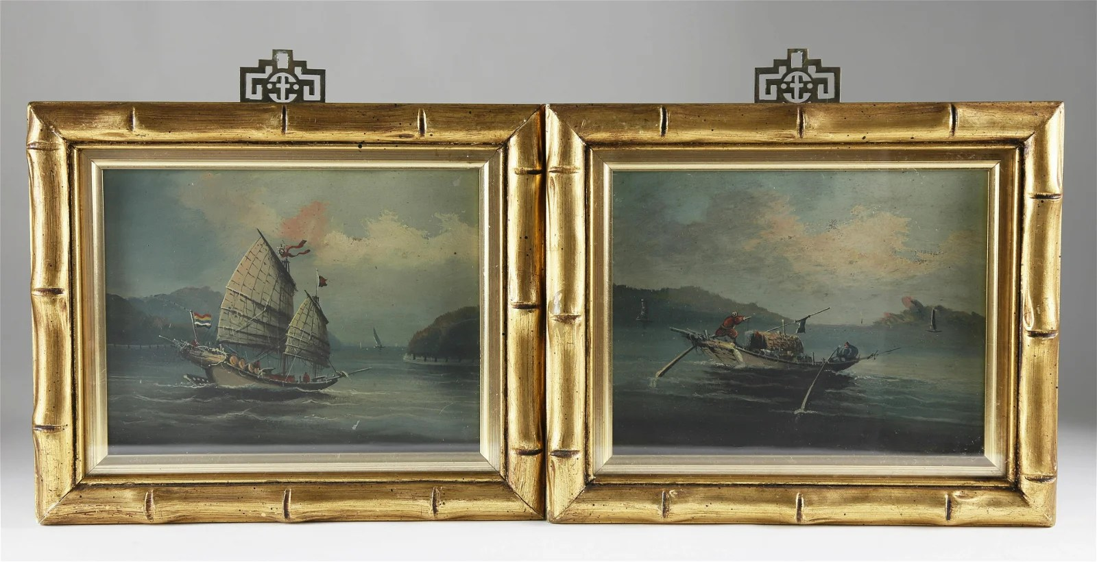 "Pair of Chinese Export Oils, ""River Scene\"""